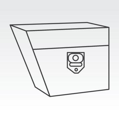 Right of wheel under tray toolbox